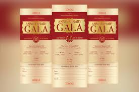anniversary gala ticket template templates creative market