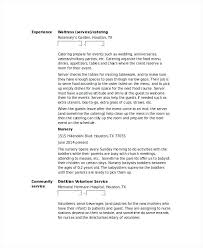 resume sample waitress waitress resume sample waiter waitress