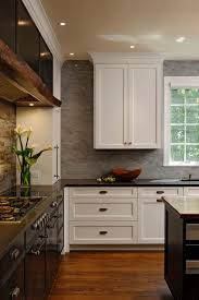 rustic kitchen backsplash porcelain barn lights give rustic look