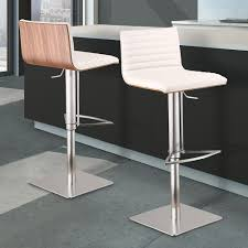 cafe bar stools armen living cafe 31 41 in white faux leather with brushed