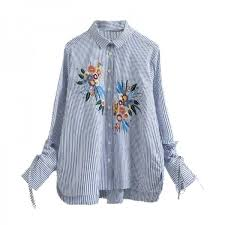 striped blouse autumn fashion flare sleeve blouses shirts flower