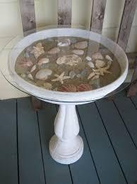 Bird Bath Decorating Ideas Fill A Birdbath With Sand And Seashells From Your Last Mermaid