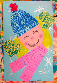 cassie stephens in the art room printed and collaged winter self