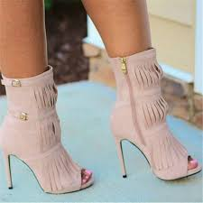 motorcycle booties fringe open toe booties fringe ankle boots 2017 fashion short