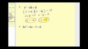 solving quadratic equations by factoring youtube