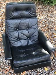 Black Leather Swivel Chairs Vintage Mid Century Danish Black Leather Swivel Chair 1960s