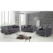 furniture isabelle grey velvet sofa on chrome legs for stunning