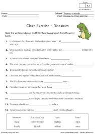 primaryleap co uk cloze exercise dinosaurs worksheet english