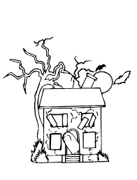 new abandoned house halloween coloring page kids fun