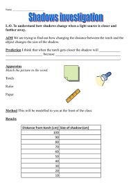 light and shadows investigation by astirrup teaching resources tes