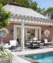 brick pool house with fireplace hilton vanderhorn architects