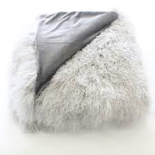 grey mongolian fur tibetan sheepskin throw blanket and bed cover