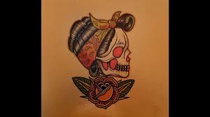 how to draw a neo traditional rockabilly skull by
