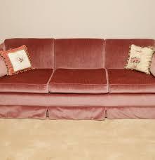 pink velour sofa and pillows ebth