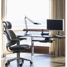 Glass Desks For Home Office by Furniture Stunning Design Ideas Using Brown Blinds And Rounded