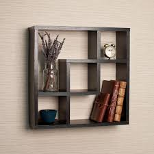 Cubby Wall Shelf by Danya B Contempo 19 In W X 19 In H Black Mdf Stepped Six Cubby