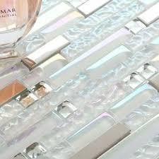 Glass Tile Bathroom Backsplash by White Iridescent Mosaics Glass Silver Kitchen Backsplash Tile