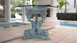 Pedestal Table Base For Glass Top Italian Tri Dolphin Table Base W Round Glass Table Top 42