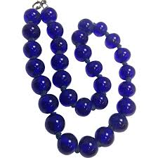 blue beads necklace images Vintage handknotted cobalt blue glass beaded necklace malena 39 s jpg