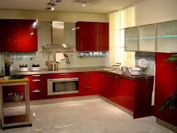 Red Kitchen Cabinets by Kitchen Beautiful Red Kitchen Cabinet Brown Countertop Grey Tile