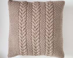 Knitting Home Decor Cable Hand Knitted Pillow Cover Ivory Decorative Pillows