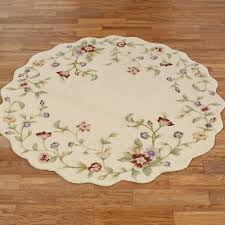 Cream Round Rug Floral Jubilee Hooked Area Rugs