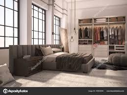 placard moderne chambre suite 3d rendu luxe moderne chambre à coucher avec placard et