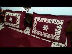 applique aplic work design hand made bed sheet and pillow