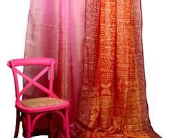 Pink And Orange Curtains Orange Curtains Etsy