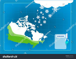 Snow Coverage Map Snowfall Snow Storm On Canadian Map Stock Vector 593454791