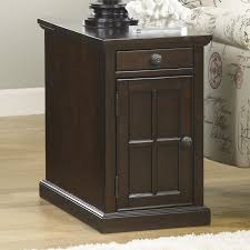 Chair Side Tables With Storage Chair Side End Table With Power Outlets Pull Out Shelf By