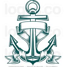 royalty free nautical anchor and blank text banner logo wedding