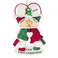 personalized ornaments for couples rainforest islands