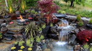 exterior design backyard waterfall designs and backyard fire pit