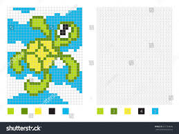 pixel turtle cartoon coloring page numbered stock vector 611764646