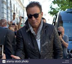 bruce springsteen arriving at his hotel gothenburg sweden stock