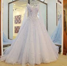 blue wedding dress a line v neck lace beaded white light blue wedding