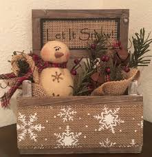 primitive christmas honey and me snowman let it snow barn wood box