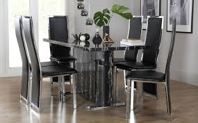Magnus Black Marble Dining Table With  Celeste Black Chairs Only - Marble dining room furniture