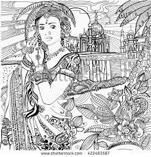 coloring pages india indian woman stock vector 422483587
