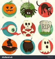 set vector halloween cartoon icons stock vector 321904451