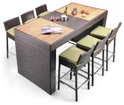 Patio Bar Table Pier Table And 6 Barstool Patio Bar Set Modern Outdoor Pub And
