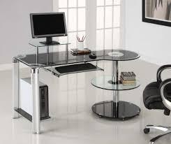 Computer Desk Workstation Black Glass U0026 Chrome Modern Computer Desk Workstation By Innovex
