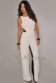 all white jumpsuits black color block key back jumpsuit
