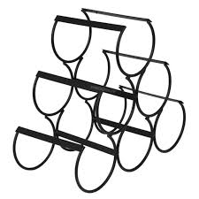 6 bottle wine rack black metal wire storage counter top holder