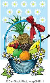 fruit basket a beautiful fruit basket of wicker with a fruit selection vector