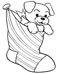 puppy present christmas stockings coloring pages netart