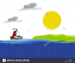 illustration yacht boat cartoon simple sailing salt water sea