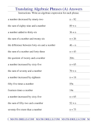 free printable math worksheets variables expressions translating algebraic phrases a