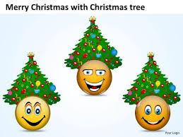 merry christmas smileys christmas trees powerpoint slides